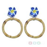 Stud 1pair Vintage 40mm Bamboo Earrings Multi-Color Hawaiian Plumeria Flower Frangipaniers For Party