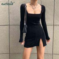 SUCHCUTE velvet women dress bodycon Modis soild Autumn Winter elegent split Femme Dresses party long sleeve gothic clothes 210915