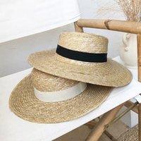 نساء شاطئ الشمس كاب القمح الطبيعي القمح قبعة الشريط التعادل 9 سنتيمتر واسعة متنزعة قبعات سيدة الصيف واسعة بريم القبعات