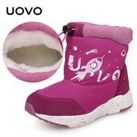 아이들 따뜻한 눈 신발 Uovo 새로운 도착 탄성 밴드 어린이 물 방충제 겨울 부츠 어린 소녀 신발 # 25-33