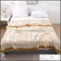 Textiles Home & Gardenlayers Of Bamboo Cotton Blankets Summer Cool Quilt Air Conditioning Blanket Sofa Throw Towel Double Plaid Drop Deliver