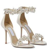 Zarif Gelin Gelinlik Sandalet Ayakkabı Maisel Lady Inciler Ayak Bileği Kayışı Lüks Markalar Yaz Yüksek Topuklu Kadın Yürüyüş Kutusu, EU35-43