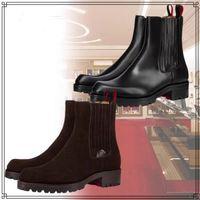 Kış Lüks erkek Ayak Bileği Çizmeler Kırmızı Alt Motok Savaş Patik Siyah, Kahverengi Süet Kauçuk Pabucu Sole Erkekler Motosiklet Booty Ünlü Parti Düğün EU38-47