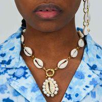 Bohemian Natural Mar Shell Verão Chunky Pearl Shopers Mulheres Colar De Moda Jóias Gótico Collares Largos Mujer