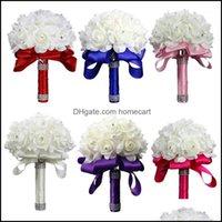 Guirnaldas de flores decorativas Fiesta festiva Suministros para la fiesta de la espuma de la espuma de la espuma de la espuma Holding Bouquet Blanco Rosa blanca / rojo / azul / rosa / PUR