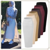 Мусульманская юбка BodyCon Эластичная эластичность Женщин вязание макси сплошной цвет Рамадан Оболочка Исламские юбки Высокая талия прямая