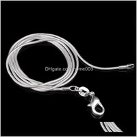 Chains Necklaces & Pendants Drop Delivery 2021 16-24Inches Sier Plated Arrive Jewelry Pretty Cute Fashion Charm 1Mm Smooth Snake Chain Neckla