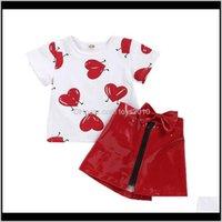 Устанавливает детское одежда ребенка, родильный падение родов 2021 костюмы сердца печати футболки малыша топы детские дизайнерские одежды девушки младенческие лук-молнии