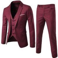Burgundy Men's Suit Groom Wear Tuxedos 3 Piece Wedding s Groomsmen Man Formal Business For Men (Jacket+Pant +vest) 210915