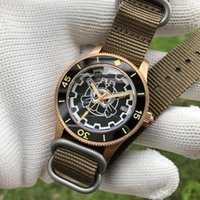 Cincuenta Fathoms Dive Mechanical Mens Watch Automatic 41mm Bronce Re-grabado NH35 30Bar Buceo para Hombres Cerámica Bezel Wristwatches