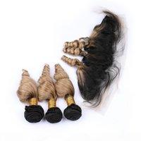 # 1b 27 mel loira ombre onda solta 3bundles cabelo peruano com fecho frontal luz marrom ombre cabelo humano lace frontal 13x4 com tece