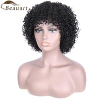 Lace Wigs Beauart Brazilian Remy Human Hair Fulll Afro Kinky Curly For Women Full Head Curls Machine Wig With Bangs