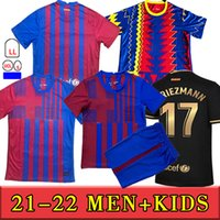 21 22 Barca Ansu Fati Soccer Jerseys Training 2021 Messi Grizmann F.de Jong Coutiniho Alba Braithwaite Men's + Kids Kits Football Jersey