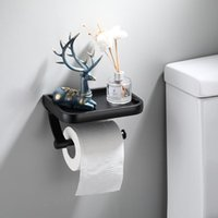 Toilet Paper Holders Stainless Steel Holder Free-punch WC Bathroom Wall Mount Phone Shelf Towel Roll Accessories