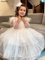 Girl's Dresses Beautiful Ivory White Puffy Tulle Flower Girl Dress For Wedding O Neck Pearls Feather Sleeves Kids Clothes Communion Gown