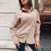 Women Casual Pockets Corduroy Velvet Blouse Long Sleeve Turn Down Collar Solid Office Lady Shirt Winter Fashion Women Tops 210415