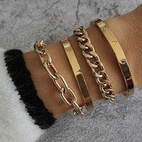 Link, Chain 4 Pcs Set Fashion Women Bracelets Set Gold Color LOVE Letter Geometry Bracelet Ladies Charm Party Wedding Jewelry