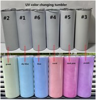 sublimation UV color changing tumbler glow in the sun straight tumblers Stainless Steel cup double wall with lids and straw SEAWAY DHF8671