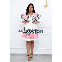 Ethnic Clothing 2021 Summer Fashion Style African Women Long Sleeve V-neck Printing Polyester Dress Dresses For Clothes