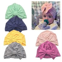 Cute Cotton Solid Color Cap Big Bow Knot Kids Baby Infant Turban Hat Bows Toddler Beanie Caps Colorful Headwraps Accessories Photography Pro