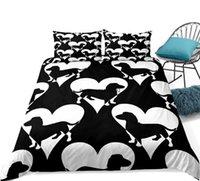 Bedding Sets Heart Cute Dog Set Dachshund Duvet Cover Black Bedclothes Cartoon Pet Quilt Bed King Home Textile Kids