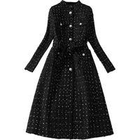 European American fashion women's long woolen Trench coat autumn and winter new houndstooth tweed windbreaker