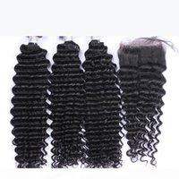 Бразильские вьющиеся девственницы человеческие волосы плетения 3 пакета с кружевными замыканиями перуанского малазийского камбоджийского индийского монгольского глубокого Джерри вьющиеся волосы