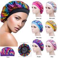 Night Sleeping Turban Hat headwrap Bonnet chemo cap Muslim Women Wide Stretch Silk Satin Breathable Bandana Hair wholesale