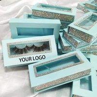 False Eyelashes Print Logo Wholesale 100 Boxes Empty Diamond Magnet Lash Packaging Case With Tray 3D 25mm Mink Eyelash Box