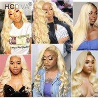 613 Perruques de cheveux humains blondes 13 * 1 Pièces profondes en dentelle avant Perruques avant Vierge Brésilien Vierge Body Wave Debout Curl Kinky DROIT 150% Densité