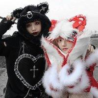 Stingy Brim Hats Girl Punk Metal Cat Ear Cap Headdress Scarf Plush Hooded Christmas Hat Winter Warm Windproof Earflap Woman