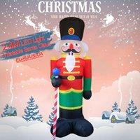 Decorazioni natalizie 2.4m Bambole di schiacciatori gonfiabili Led Led Light Xmas Toys Year Party Party Ornamento illuminazione all'aperto