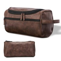 Cosmetic Bags & Cases PU Leather Waterproof Portable Hanging Travel Storage Multifunctional Makeup Toiletry Bag Shaving Men Women Pouch Orga