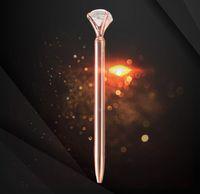 الإبداعية كريستال الزجاج kawaii حبر جاف القلم الكبيرة جوهرة الكرة الأقلام مع كبير الماس 36 ألوان الأزياء مكتب اللوازم المكتبية