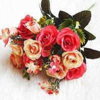 5 شوكة 10 رؤساء زهرة روز الحرير زهرة المهنية الحرير زهرة روز باقة الزهور الاصطناعية الزفاف