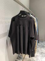 2021 Mens T-shirt Mode Paris Brief Druck Hohe Qualität 100% Baumwolle Damen Kurzarm T-Shirt BLICK Weiß Rote Farbe High-End-gebrochenes Loch Kunst Design-Stil EU-Größe