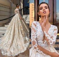 Long Sleeve Lace Ball Gown Wedding Dresses robe de mariage Applique vestido de noiva de renda Luxury Bridal Gowns
