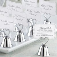 """20pcs   Lot + """"Kissing Bell"""" Gold Silver Bell Place Card Holder Po Wedding Table Decoration Favors Party"""