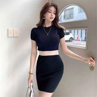 LDYRWQY Damenfarbe passende Kleid Schlank Abnehmen Elastische kurzärmlige Stricktasche Hüfte Bottoming 210416