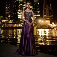 Party Dresses Rhinestone Satin Evening Dress For Woman With Illusion Long Sleeves Purple Brush Train Gown Shinny Sequin Beading Robe