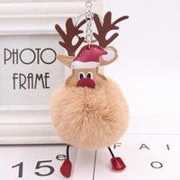 Keychains 2021 Christmas Deer Fur Ball Key Chain Lovely Elk Plush Bag Pendant Keyring Pom BallBag Car Accessories Gift