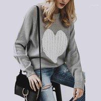 Yjsfg casa moda donna maglioni manica lunga o collo signore autunno a maglia cuore casual maglione maglione slim top bianco nero