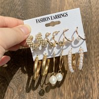 Dangle chanderlier earrings Fashion Pearl Earrings Set for Women Geometirc Gold Color Metals Circle rings 2021 Trend Jewelry Poison 0722