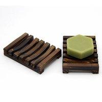 Natural de madeira de madeira sabão pratos suporte de bandeja Sabonetes de armazenamento de armazenamento Caixa de placas de cremalheira para banho casa de banho por mar lla647