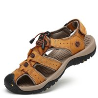 Leather sandals, cowhide men's shoes, summer beach fashion slippers, large size 38-47 outdoor leisure sandals 210624