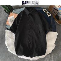 Camisas casuales de los hombres Kapments Men Harajuku 2021 Hombres algodón bolsillos sólidos Streetwear Floot Short Manga Masculina KPOP MAYS MAYSES PLUS TAMAÑO DE ROPA