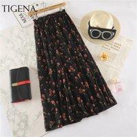 Etekler Tigena Çiçek Baskı Uzun Maxi Kadınlar Moda Yaz Yüksek Bel Pileli Kadın Boho Tatil Şifon Güneş