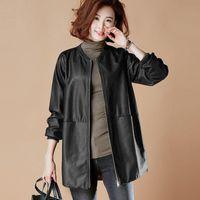 Women's Leather & Faux Autumn Winter Jacket Casual O Neck Basic Plus Size Female Coat Black Loose PU Baseball Outwear