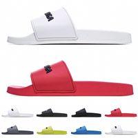 Piscina preferencial Piscina Carta de diapositivas Sandalias de goma Zapatillas para hombres Mujeres con caja Unisex Playa Flip Flaks Slipper Tamaño 36-45