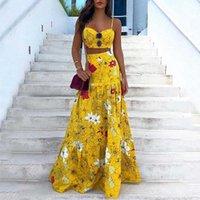 Çiçek Baskı Yaz Elbiseleri Kadınlar Için 2021 Iki Parçalı Etek Seti Spagetti Kayışı Kırpma Üst Ve Maxi Uzun Parti 2 Takım Kadın Mayo